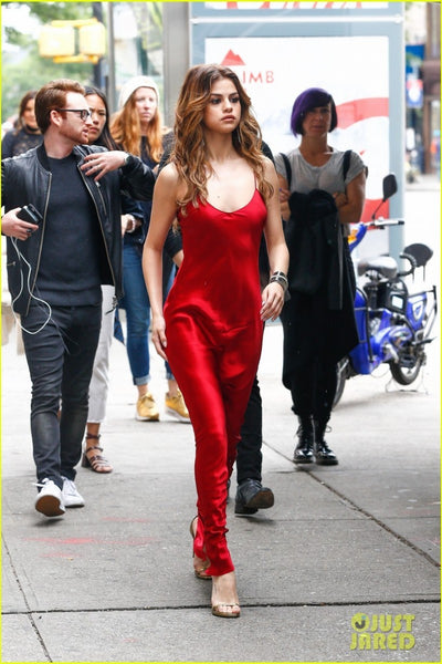 Red Selena Gomez Casual Round Neck Straps Dress Satin Slip Prom Celebrity Dress Outfit For Sale