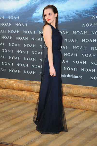 Dark Navy Emma Watson Long Dress Prom Celebrity Formal Gown Noah Premiere in Berlin