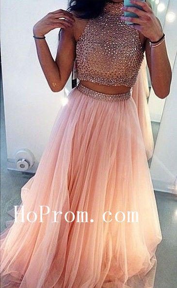 High Neck Pink Prom Dresses,Beading Prom Dress,Evening Dress