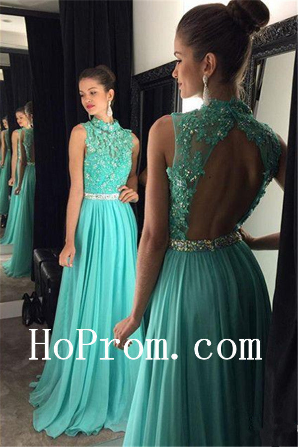 High Neck Prom Dresses,Mint Prom Dress,Backless Evening Dress