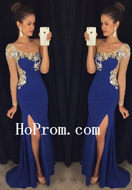 Slit Blue Prom Dresses,One Shoulder Prom Dress,Evening Dress