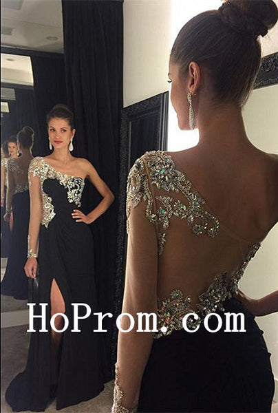 Slit Black Prom Dresses,One Shoulder Prom Dress,Evening Dress