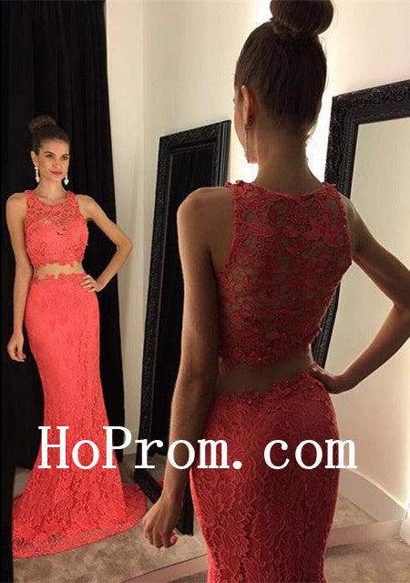 Lace Sleeveless Prom Dresses,Two Piece Prom Dress,Evening Dress