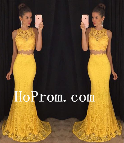 Lace Sleeveless Prom Dresses,Two Piece Prom Dress,Yellow Evening Dress