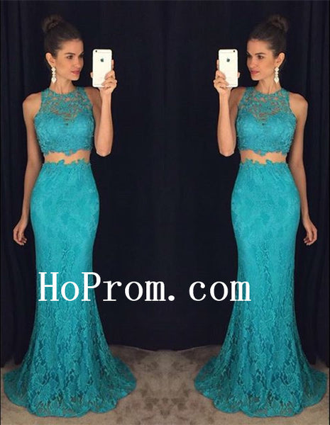 Lace Sleeveless Prom Dresses,Two Piece Prom Dress,Blue Evening Dress
