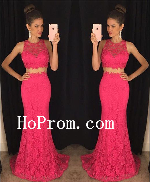 Lace Sleeveless Prom Dresses,Two Piece Prom Dress,Hot Pink Evening Dress