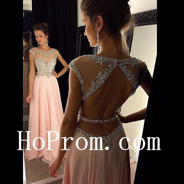 Cap Sleeve Prom Dresses,Pink Prom Dress,Backeless Evening Dress
