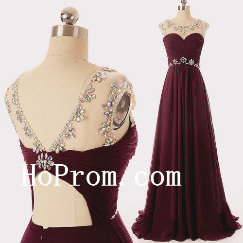 Crystal Beading Prom Dresses,Burgundy Prom Dress,Evening Dress
