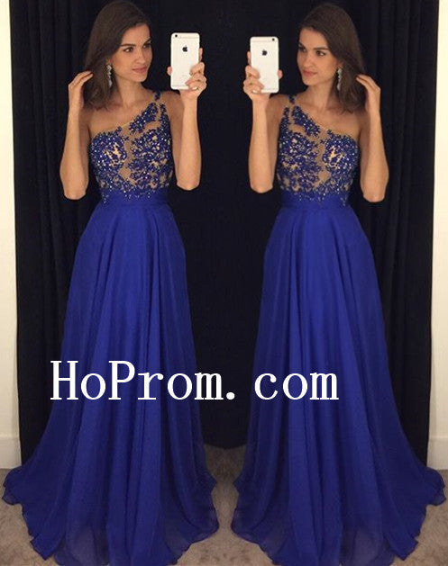 Blue Prom Dresses,Long Prom Dress,One Shoulder Evening Dress