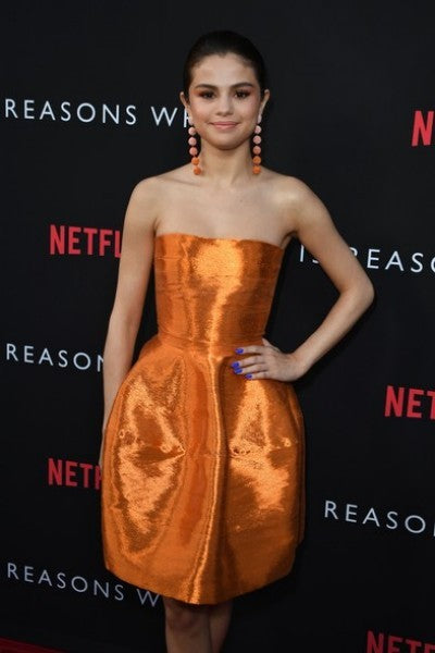 Orange Selena Gomez Short Off The Shoulder Dress Knee Length Prom Celebrity Dress 13 Reasons Why Premiere