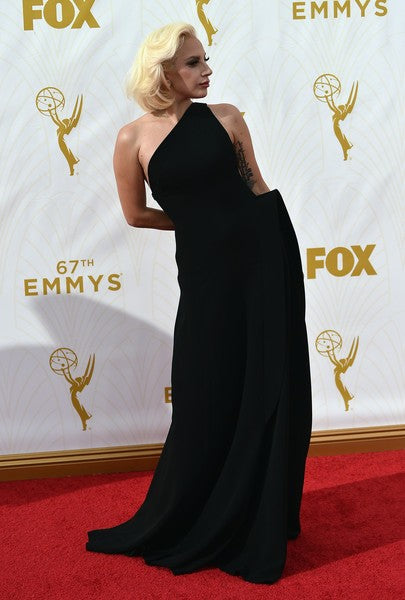 Black Lady Gaga One Shoulder Prom Celebrity Formal Dress At 67th Annual Primetime Emmy Awards