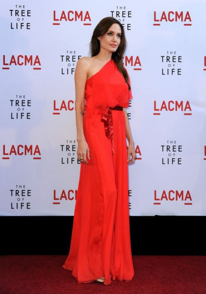 Red Angelina Jolie One shoulder Prom Evening Celebrity Red Carpet Dress The Tree Of Life Premiere