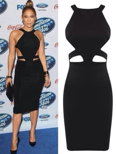 Black Jennifer Lopez (J.Lo) Short Cut Out Dress Halter Tea Length Prom Celebrity Dress American Idol