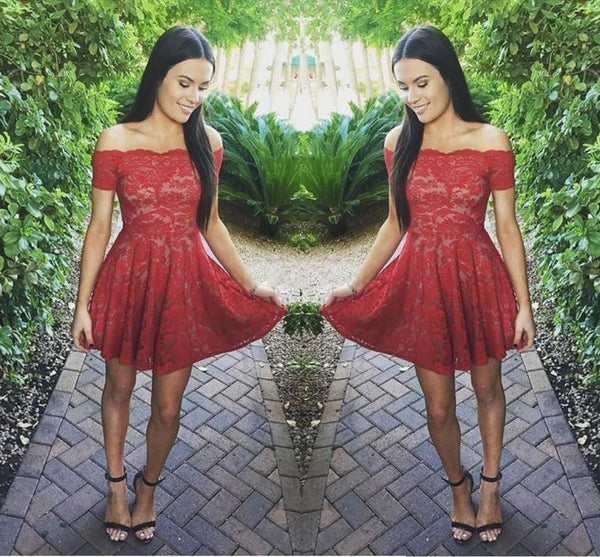 Red Full Lace Off Shoulder Short Sleeve Homecoming Dresses