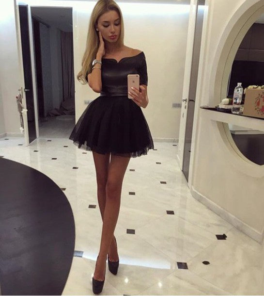 Black Off Shoulder Short Tulle 34 Sleeve Homecoming Dresses Hoprom