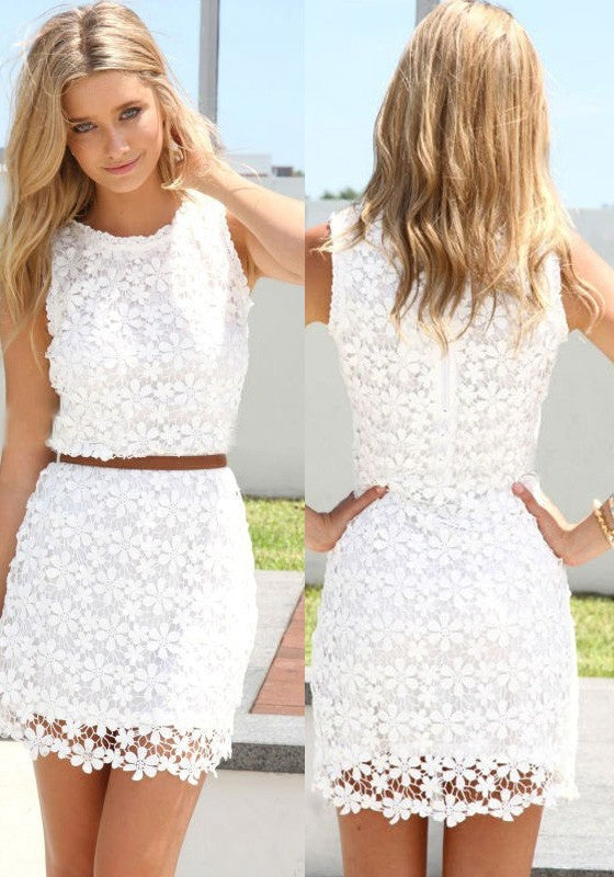 White Lace Round Neck Two Piece Mini Short Homecoming Dresses