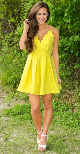Yellow V-neck Straps Stain Short Homecoming Dresses