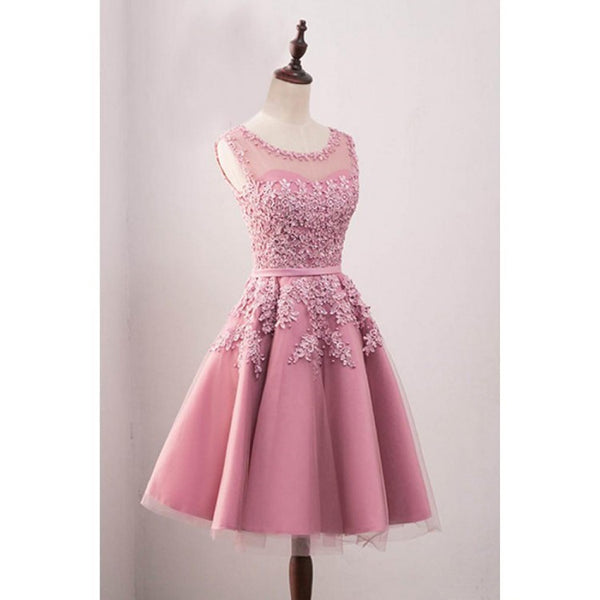 Pink Tulle Applique Round Neck Sweetheart Homecoming Dresses