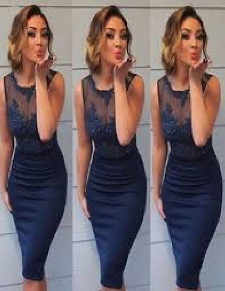 Sheath Blue Applique Straps Knee Length Homecoming Dresses