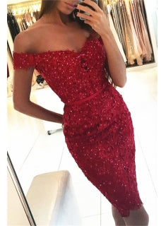 Sheath Red Lace Applique Beading Off Shoulder Short Sleeve Homecoming Dresses