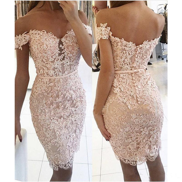 Sheath White Full Lace Applique Off Shoulder Short Sleeve Homecoming Dresses