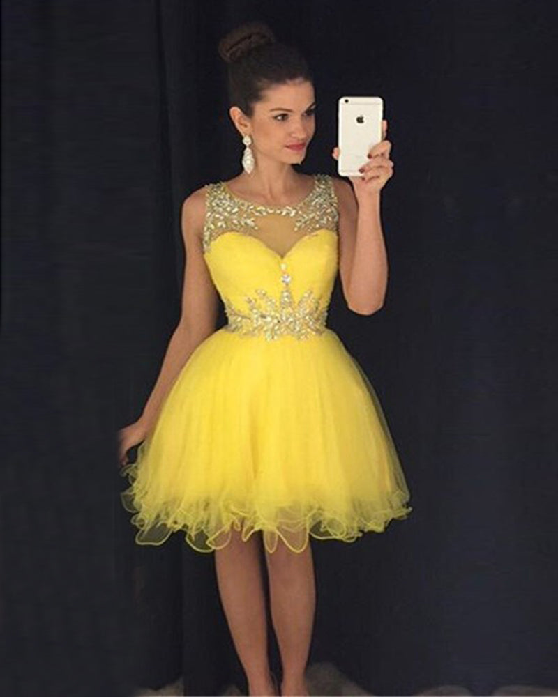 Yellow Tulle Paillette Knee Length Homecoming Dresses With Bead Belt