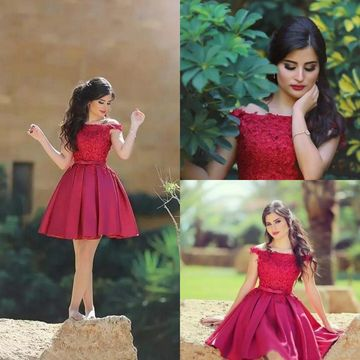 b37e888bf12 Red Off Shoulder Short Sleeve Stain Knee Length Pleats Homecoming Dresses