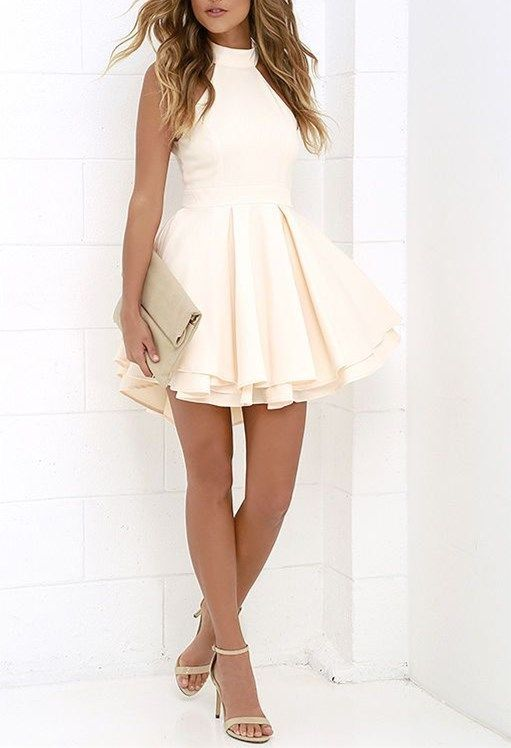 White Halter Short Stain Homecoming Dresses