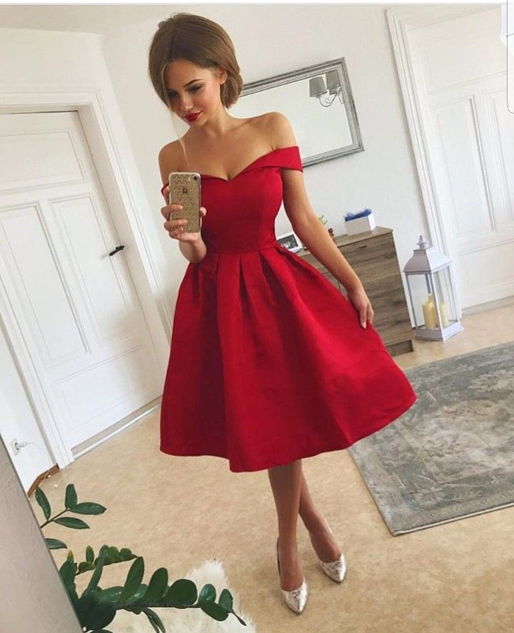 9e2d328d945 Red Off Shoulder Short Sleeve Knee Length Stain Homecoming Dresses – Hoprom