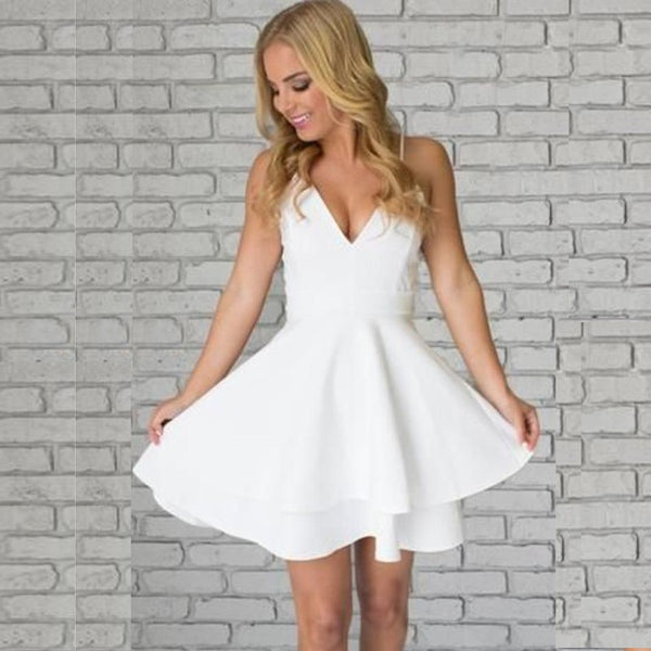 White Strap V-neck Backless Stain Short Homecoming Dresses