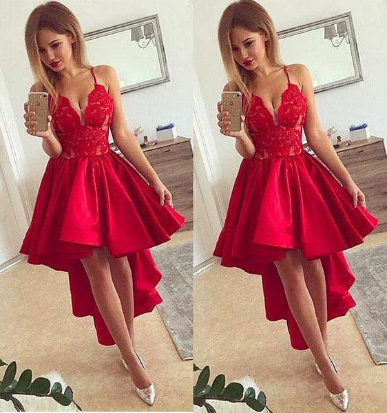 Red Strap V-neck Lace Applique High Low Homecoming Dresses