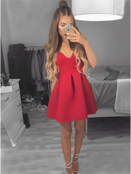 Red Deep V-Neck Satin Short Homecoming Dress
