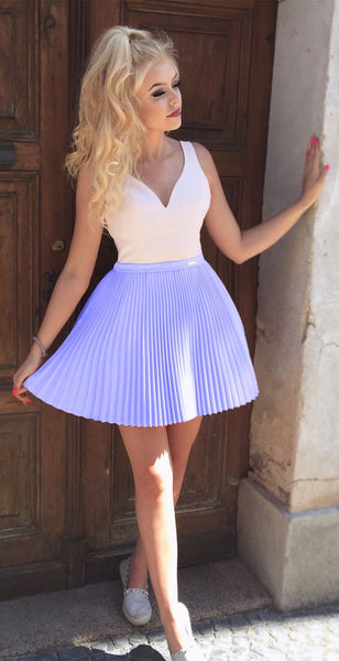 Purple V-neck Strap Pleats Short Cute Homecoming Dresses