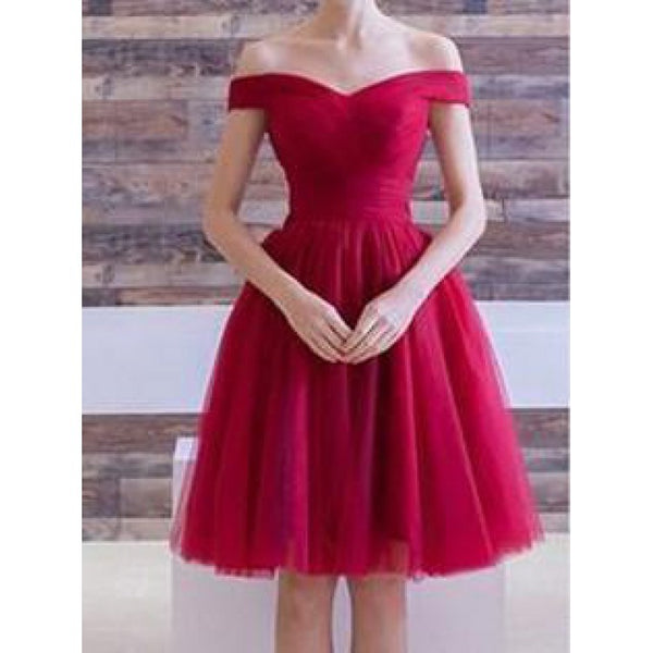 Red Tulle Off Shoulder Short Sleeve Knee Length Homecoming Dresses