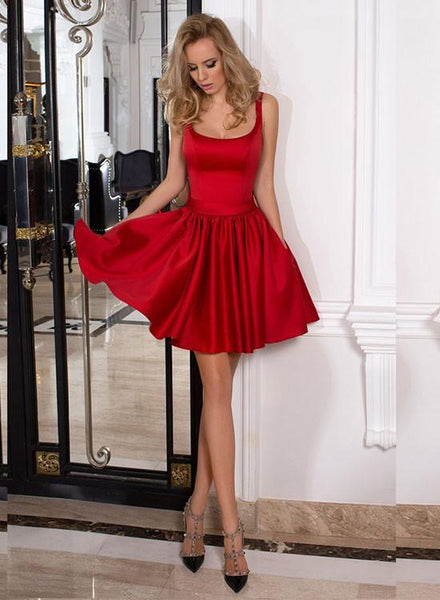 Red Strap Backless Short Satin Homecoming Dresses with Bowknot