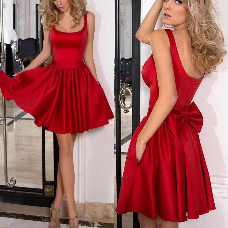 2ef4baef779 Red Strap Backless Short Satin Homecoming Dresses with Bowknot – Hoprom