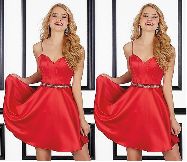 Red Strap Stain Cute Short Homecoming Dresses with Bead-belt