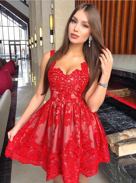 Red Full Lace V-neck Strap Tulle Pleats Short Homecoming Dress