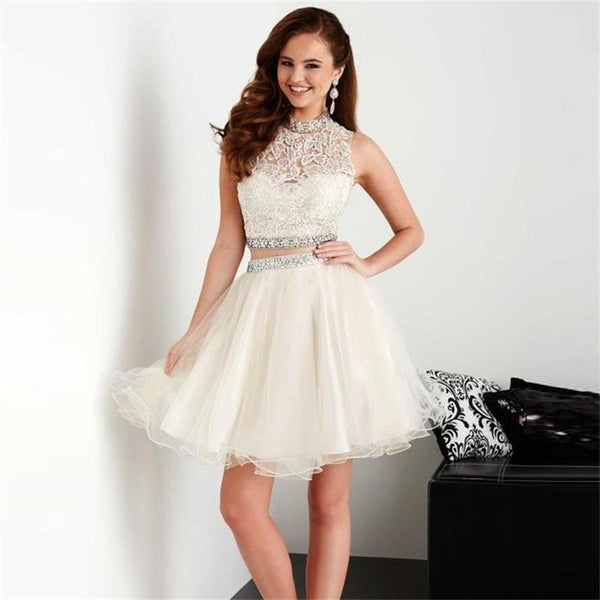 White Halter Lace Applique Two Piece Tulle Homecoming Dresses with Bead Belt