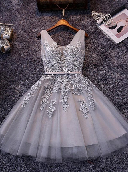 Grey Tulle Applique Strap Short Homecoming Dresses