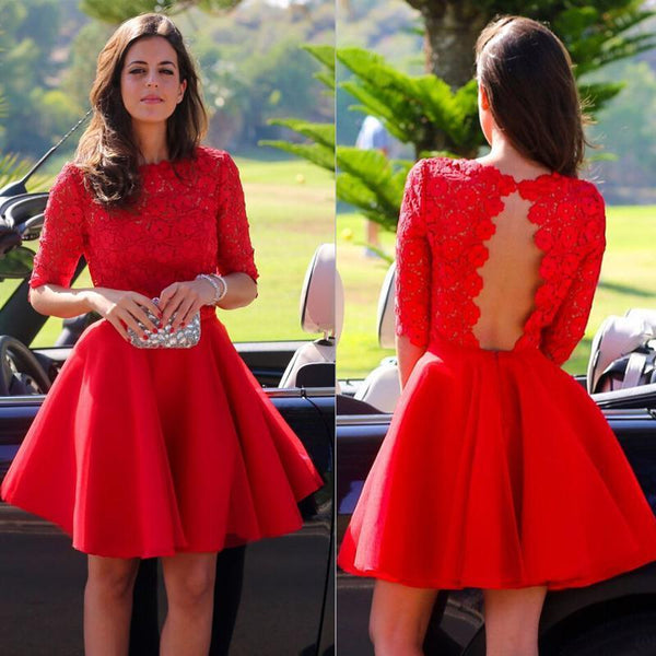 Red Lace 3/4 Sleeve Backless Stain Pleats Short Homecoming Dresses