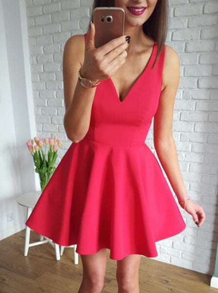 Cute Red V-neck Straps Stain Short Homecoming Dresses