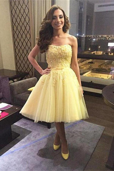 Yellow Sweetheart Strapless Lace Applique Tulle Homecoming Dresses