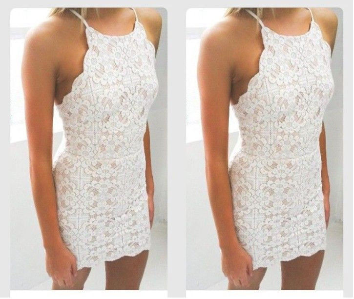 1dbca84929a0 Bodycon White Full Lace Applique Strap Short Homecoming Dresses – Hoprom