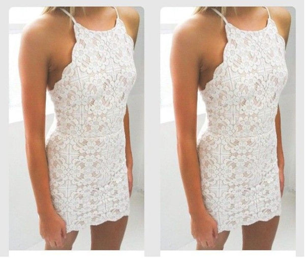 Bodycon White Full Lace Applique Strap Short Homecoming Dresses