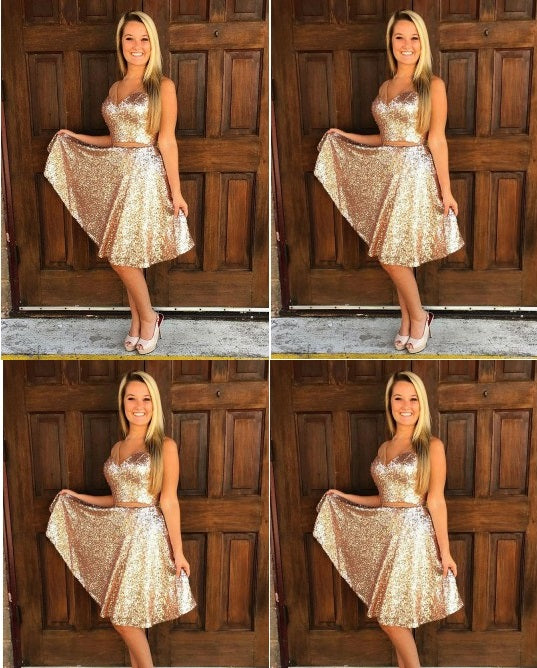 ceb0cd77683 Royal Gold Sequin Two Piece Homecoming Dresses,Strap V-neck Knee Lengt –  Hoprom