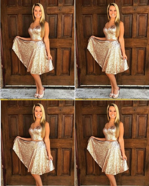 Royal Gold Sequin Two Piece Homecoming Dresses,Strap V-neck Knee Length Homecoming Dresses