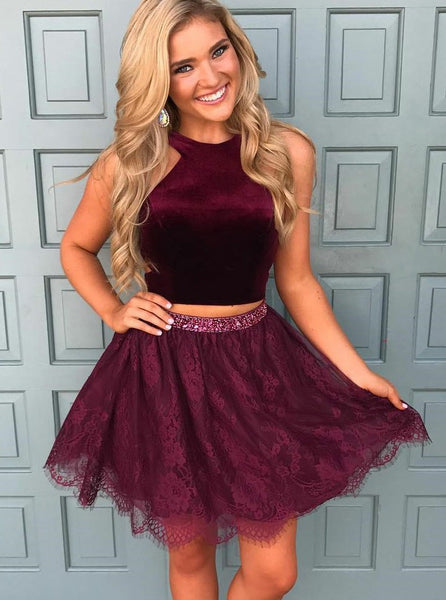 d0e20f2160a Burgundy Halter Two Piece Tulle Short Homecoming Dresses with Bead Belt