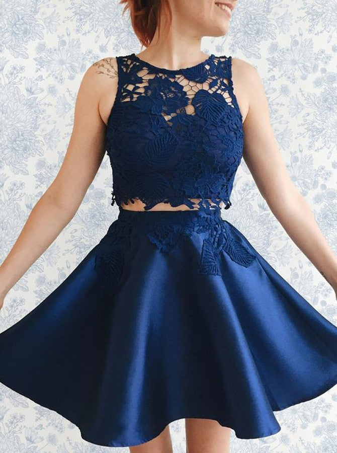 Blue Two Piece Round Neck Applique Pleats Short Homecoming Dresses