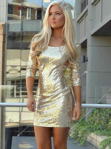 Royal Gold Long Sleeve Round Neck Sheath Short Homecoming Dresses with Sequined